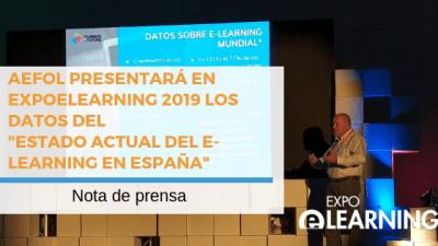"""AEFOL presentará en EXPOELEARNING 2019 los datos del """"Estado actual del e-learning en España"""""""